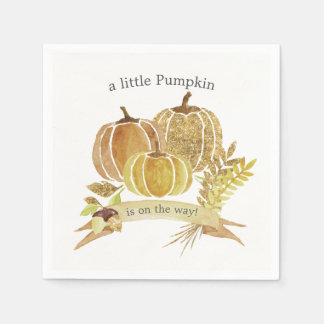 Watercolor Pumpkin Fall Baby Shower Napkins Disposable Napkin