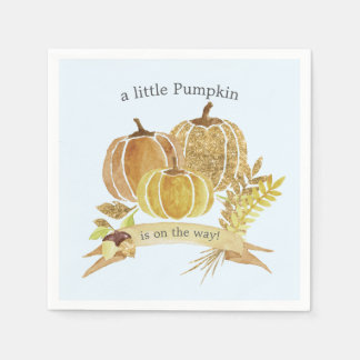 Watercolor Pumpkin Fall Blue Baby Shower Napkins Paper Napkin