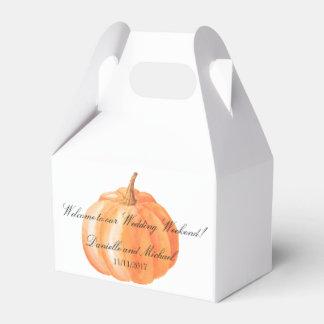 Watercolor Pumpkin Fall Wedding Gable Favor Boxes