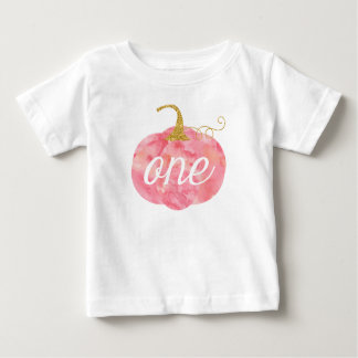 Watercolor Pumpkin Glitter Girl 1st Birthday Baby T-Shirt