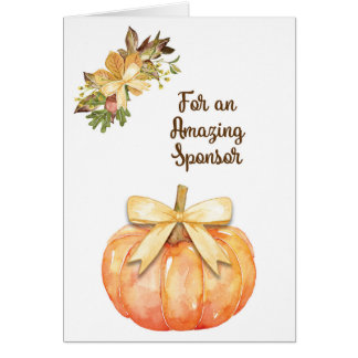 Watercolor Pumpkin Thanksgiving Card for Sponsor