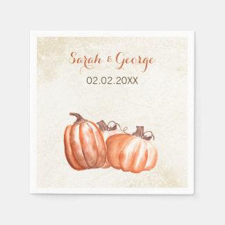 watercolor pumpkins Fall wedding napkin Disposable Serviette