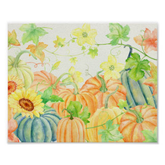 Watercolor Pumpkins Poster