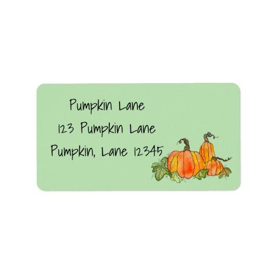 Watercolor Pumpkins Retro Halloween Harvest Gourd Address Label