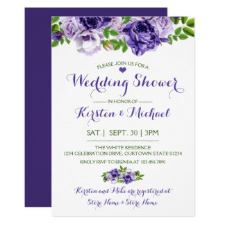 Watercolor Purp Floral | Wedding Shower Invitation