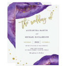 Watercolor Purple and Gold Geode Wedding Card