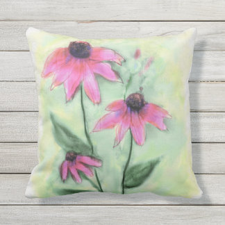 Watercolor Purple Cone Flower Outdoor Pillow