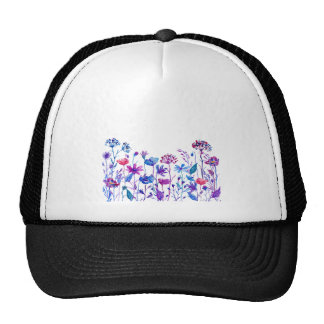 Watercolor Purple Field Flowers Cap