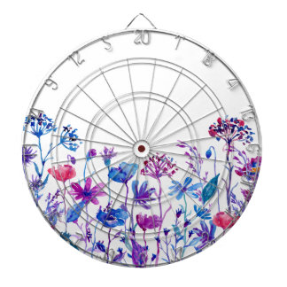 Watercolor Purple Field Flowers Dartboard