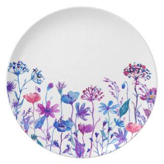 Watercolor Purple Field Flowers Dinner Plate
