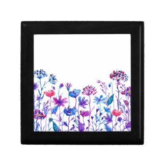 Watercolor Purple Field Flowers Gift Box