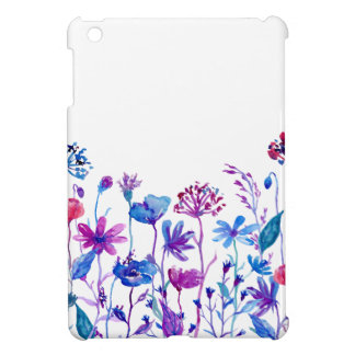 Watercolor Purple Field Flowers iPad Mini Cover