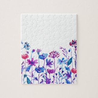 Watercolor Purple Field Flowers Jigsaw Puzzle