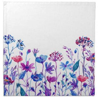 Watercolor Purple Field Flowers Napkin
