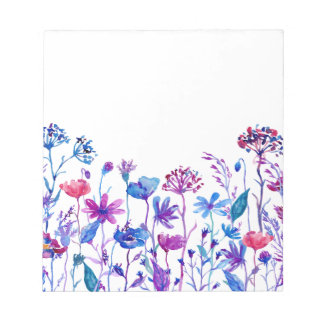 Watercolor Purple Field Flowers Notepad