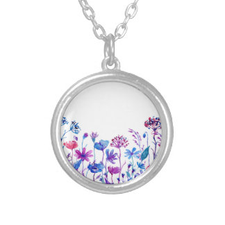 Watercolor Purple Field Flowers Silver Plated Necklace