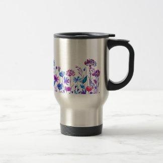 Watercolor Purple Field Flowers Travel Mug