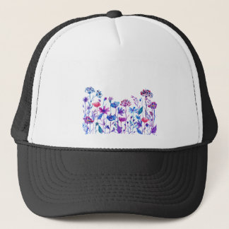 Watercolor Purple Field Flowers Trucker Hat