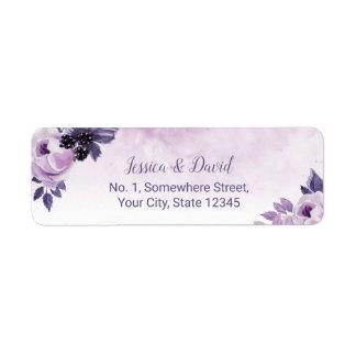 Watercolor Purple Floral Elegant Spring Wedding Return Address Label