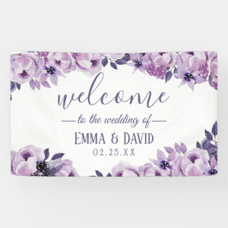 Watercolor Purple Floral Elegant Wedding Party Banner