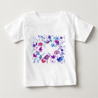 Watercolor Purple Flower Border Baby T-Shirt
