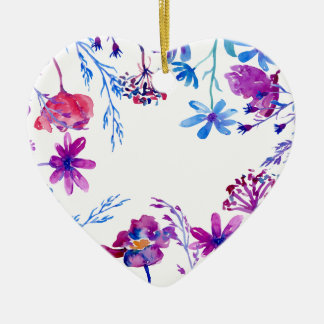 Heart shaped watercolour floral ceramic decorations for Heart shaped decorations home