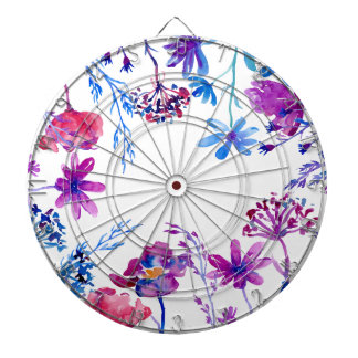 Watercolor Purple Flower Border Dartboard