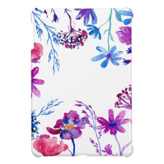 Watercolor Purple Flower Border iPad Mini Cover