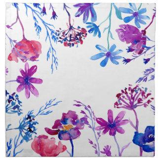 Watercolor Purple Flower Border Napkin