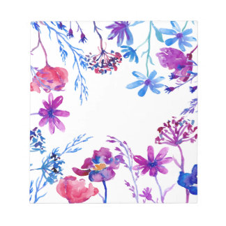 Watercolor Purple Flower Border Notepad
