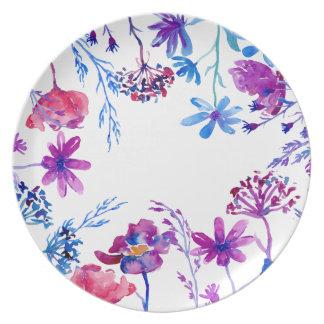Watercolor Purple Flower Border Plate