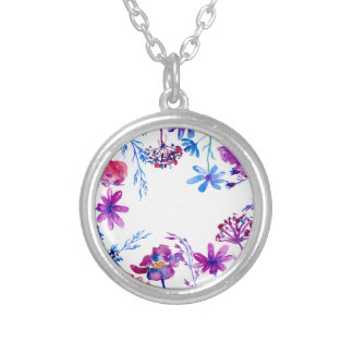 Watercolor Purple Flower Border Silver Plated Necklace