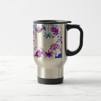 Watercolor Purple Flower Border Travel Mug