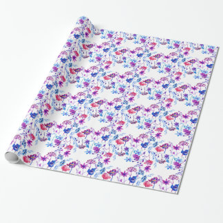 Watercolor Purple Flower Border Wrapping Paper
