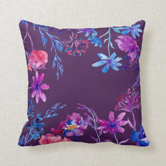 Watercolor Purple Flower Frame Throw Pillow