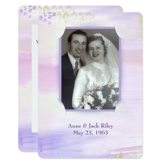 watercolor purple frame for wedding vow renewal card