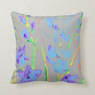 Watercolor Purple gladiolus Cushion