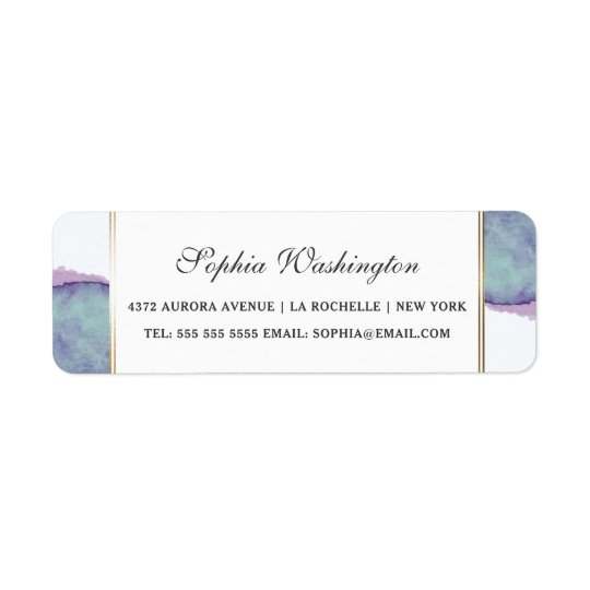 Watercolor Purple & Gold Border Wedding Address Return Address Label