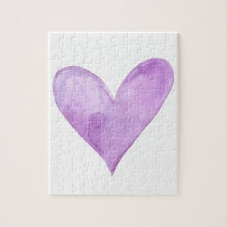 Watercolor Purple Heart, valentine heart Jigsaw Puzzle