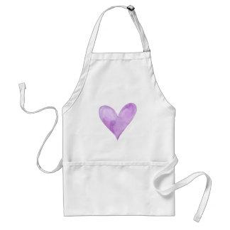 Watercolor Purple Heart, valentine heart Standard Apron
