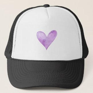 Watercolor Purple Heart, valentine heart Trucker Hat
