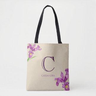 Watercolor Purple Iris Botanical Floral Monogram Tote Bag
