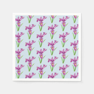 Watercolor Purple Iris Floral Art Paper Napkins