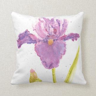 Watercolor Purple Iris Throw Pillow