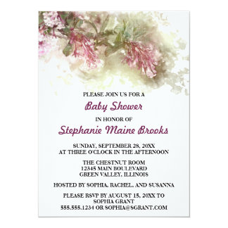 Watercolor Purple Jasmine Baby Shower Party 14 Cm X 19 Cm Invitation Card