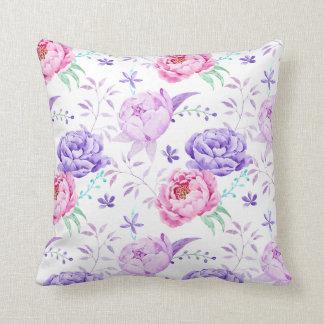 Watercolor Purple Peony Pattern Cushion