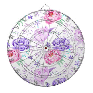 Watercolor Purple Peony Pattern Dartboards