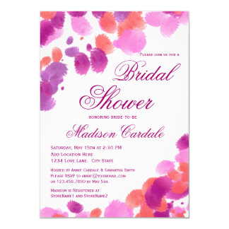 Watercolor Purple Pink Bridal Shower Invitations
