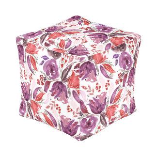 Watercolor Purple + Pink Floral Cube Pouf