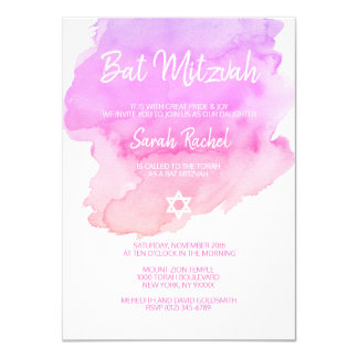 Watercolor Purple Pink Peach Star BAT MITZVAH Card